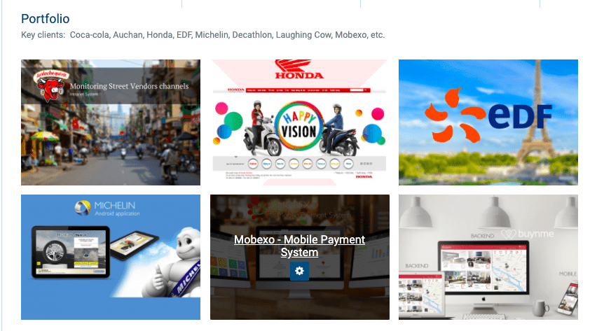 The laughing cow, honda (Asia), edf e-commerce, michelin, mobexco, buynme